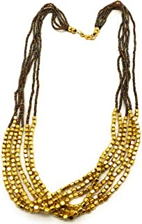 DCA Gold & Brown Glass/Steel Women Necklace (4143)