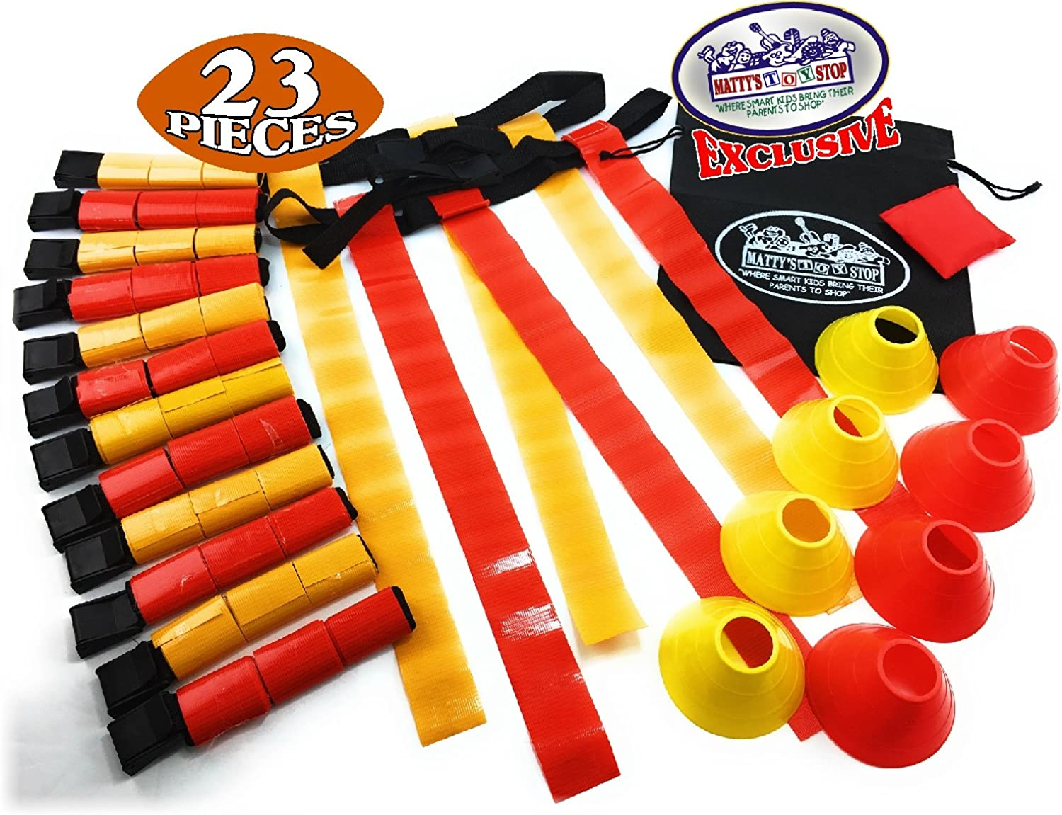 Matty's Toy Stop Deluxe 14Man Flag Football Set with 7 Yellow Belts, 7 Red Belts, 4 Yellow Cones, 4 Red Cones, 1 Red Beanbag Flag & Storage Bag