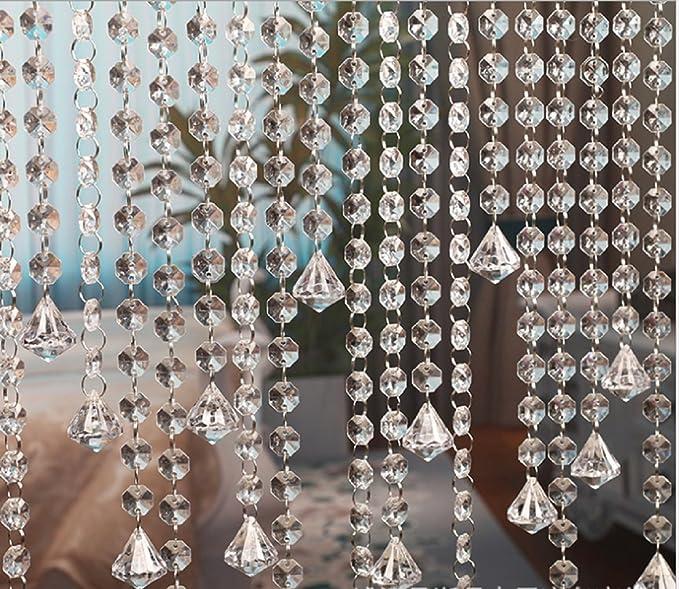Belle Vous Guirlande Perle D/écorations de mariage Bracelets et Fabrication de Bijoux 6 de 1m de long - Perle Cristal Octogonale en Verre Color/é Largeur 1,6 cm pour Chandeliers Rideau de porte