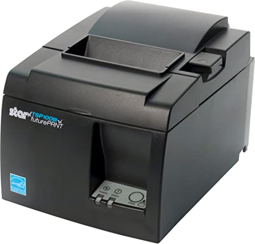 Star Micronics TSP143IIILAN Ethernet (LAN) Thermal Receipt Printer with Auto-cutter and Internal Power Supply - Gray