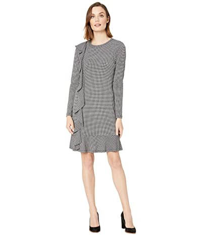 MICHAEL Michael Kors Check Ruffle Long Sleeve Dress (White) Women
