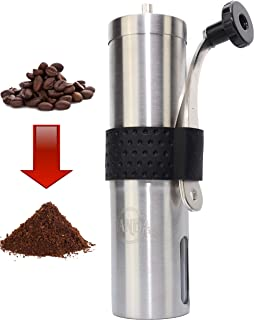 Manual Coffee Grinder by Janda Products - Conical Stainless - Steel Design and Ceramic Burr Grinder - Portable, Compact and Reusable for Camping - Hand operated for coffee, tea, herbs and spices