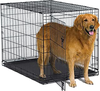 New World Crates Folding Metal Dog Crate with Leak-Proof Plastic Tray, 42 L x 30 W x 28 H Inches