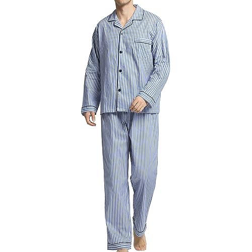 a6649bc2ea Men s Sleepwear 100% Cotton Pyjama Set Long with Bottoms Woven Nightwear  Loungewear