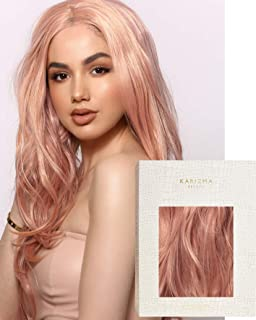 Rose Gold Plated Wig ✮ Rose Gold Pink Wavy Lace Front Wig by Karizma Synthetic Hair