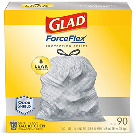 GLAD ForceFlex Protection Series Tall Kitchen Trash Bags, 13 Gal, Unscented OdorShield, 90 Ct (Package May Vary)