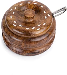 Rusticity Wooden Sugar Bowl with Lid and Spoon - Steel | Handmade | (3.8x3.8in)