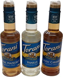 Torani Sugar Free Vanilla, Classic Hazelnut, & Caramel 12.7 Oz (Variety Pack of 3)