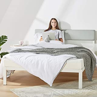 Mellow KERA Metal Platform Bed with Angled Upholstered Headboard, Solid Wooden Slats, Easy Assembly, Sky Grey, Queen (BBPB-WHQ), White