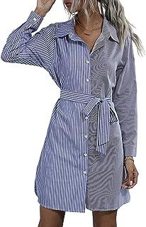 Vestito a Camicia da Donna Abito Blusa a Maniche Lunghe Colletto Risvolto con Bottoni Cintura Casual Elegante