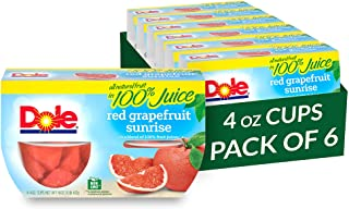Dole Fruit Bowls, Red Grapefruit in 100% Fruit Juice, 4 Count, 4 Ounce Cups (Pack of 6) - 24 Total Cups
