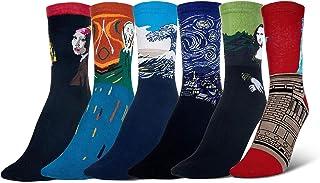6 pares Calcetines de Algodón Hombre y Mujer Arte Retro Pinturas Famosas Calcetines