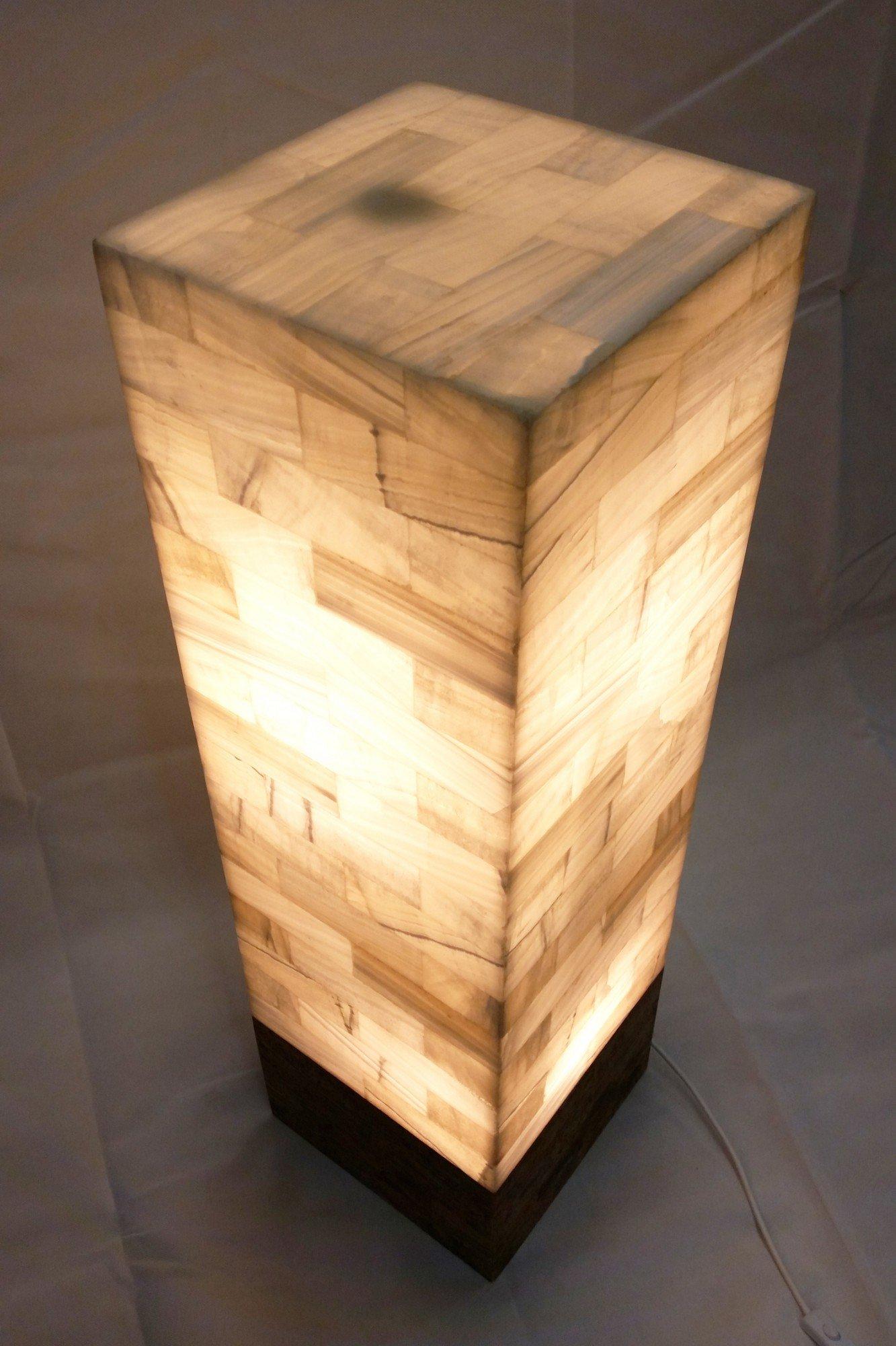 Lámpara de pie de edelweißem/natural Onyx mármol rectángulo columna 120 x 30 x 30 cm: Amazon.es: Iluminación