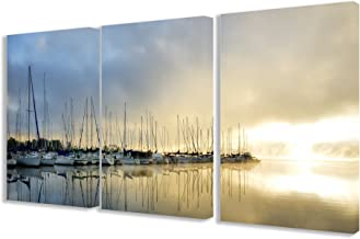 Stupell Home Décor Sail Boats On The Dock Triptych Wall Art Triptych Stretched Canvas Wall Art Set, 16 x 1.5 x 24, Proudly Made in USA