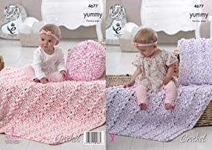 King Cole Yummy Chunky Crochet Pattern Round or Square Cushion Cover & Baby Blanket (4677)