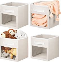 mDesign Set of 4 Cube Storage Boxes — Wardrobe Storage for Nurseries and Bedrooms — Nursery Storage Boxes with Handle and ...