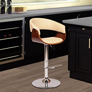 Armen Living Paris Swivel Barstool in Cream Faux Leather and Chrome Finish