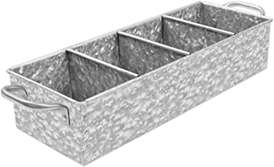 WH Farmhouse Flower Herb Pot Set with Tray + Galvanized Farm House Metal Caddy Organizer Tray with Handles Bundle - Kitchen Windowsill Garden Garage Indoor Outdoor, Rustic, Home Decor by Walford Home