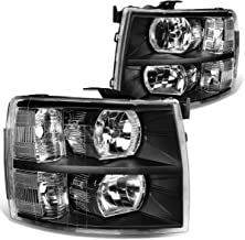 DNA Motoring HL-OH-CSIL07-BK-CL1 Headlight (Driver and Passenger Side) [for 07-14 Chevy Silverado],Black clear
