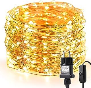 LE 20M LED Lichterkette Draht aus Kupferdraht, 200 LEDs, Wasserdicht IP65, Strombetrieben mit Stecker, Ideale Weihnachtsbe...