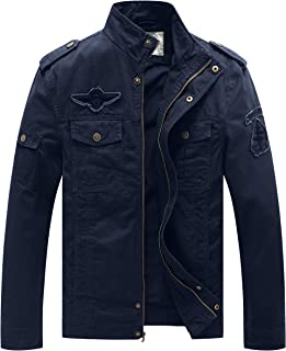 WenVen Men's Winter Warm Jacket Casual Outdoor Windproof Coat Thickened Cotton Outerwear Coat Stand Collar Fleece Jackets