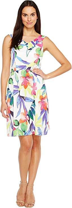 Floral Printed Fit & Flare Dress with Wide Neckline