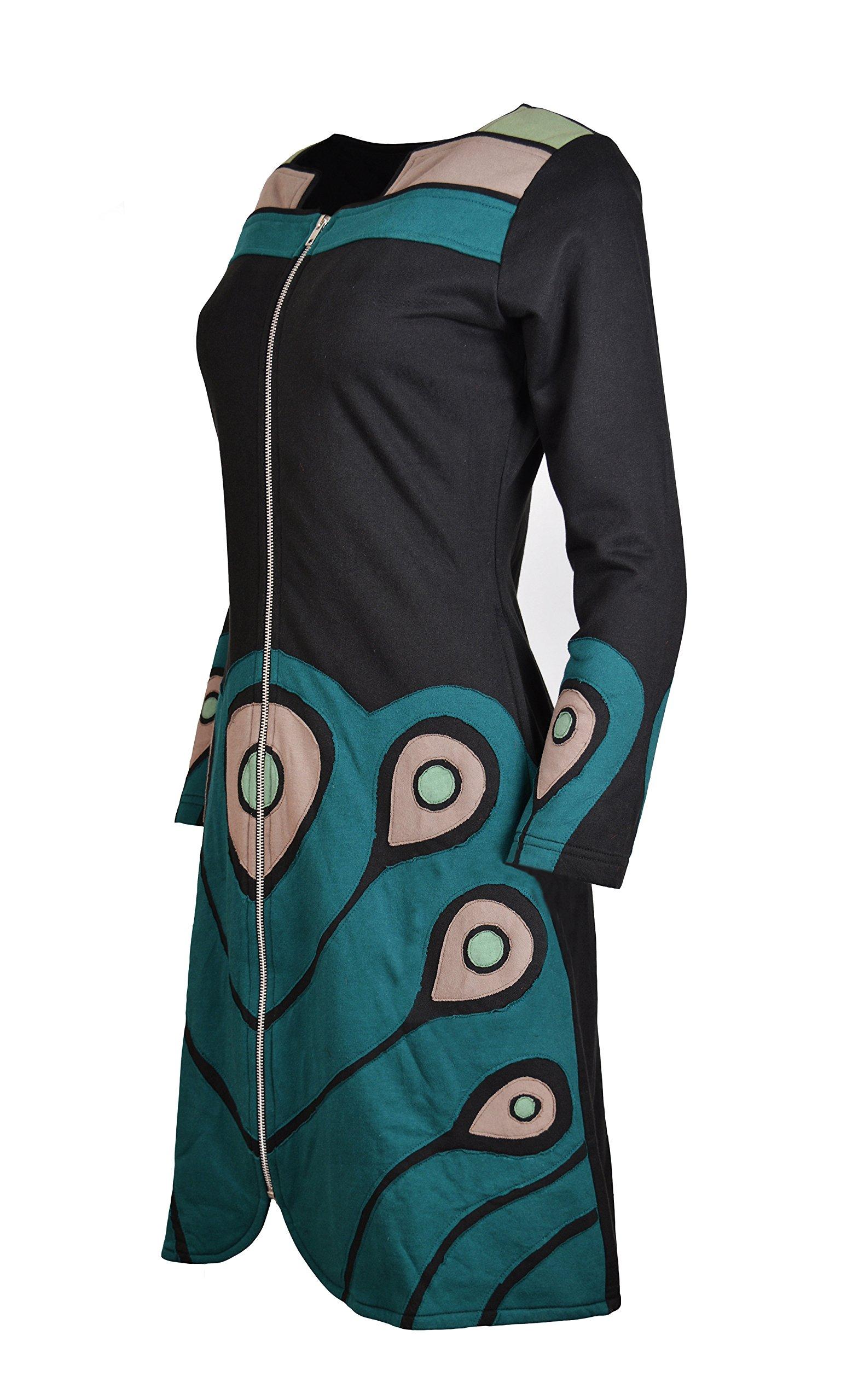 TATTOPANI Femmes Délavé Coton Cardigan Avec Coloré Peint à La Main Design!