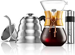 MITBAK Pour Over Coffee Maker Set | Kit Includes Gooseneck Kettle with Thermometer, Coffee Mill Grinder & Coffee Dripper B...