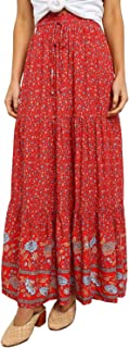 Eytino Women Boho Floral Print Elastic High Waist Pleated A Line Long Maxi Skirt(S-XL)