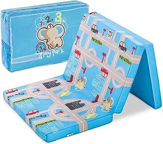 Hauck Sleeper Reisebett-/Schaumstoff Matratze, 60 x 120 cm, 6 cm hoch, 3-teilig zusammenklappbar, faltbar, waschbar, inkl. Transporttasche, Hippo blau