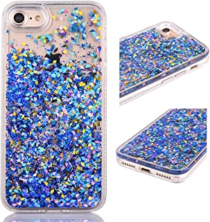 iPhone 5 5S Case, KMISS Glitter Star Liquid Flowing Floating Dynamic Luxury Bling Glitter Sparkle Flexible Protective Shell Bumper Case for Apple iPhone 5 5S SE (Blue)
