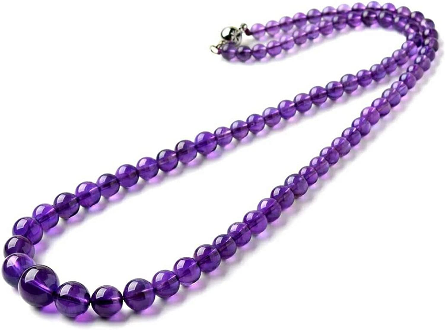 Dealing full price reduction Ranking TOP19 Purple Natural Amethyst Quartz Crystal Long Bead Necklace Round