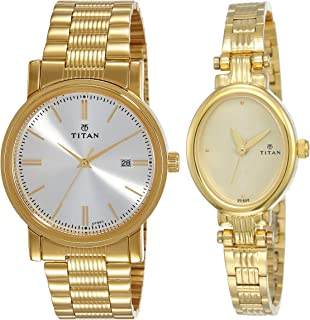 Titan Analog Off White and White Dial and Golden Band Watches Combo (NJ1712YM02, NK2535YM01)