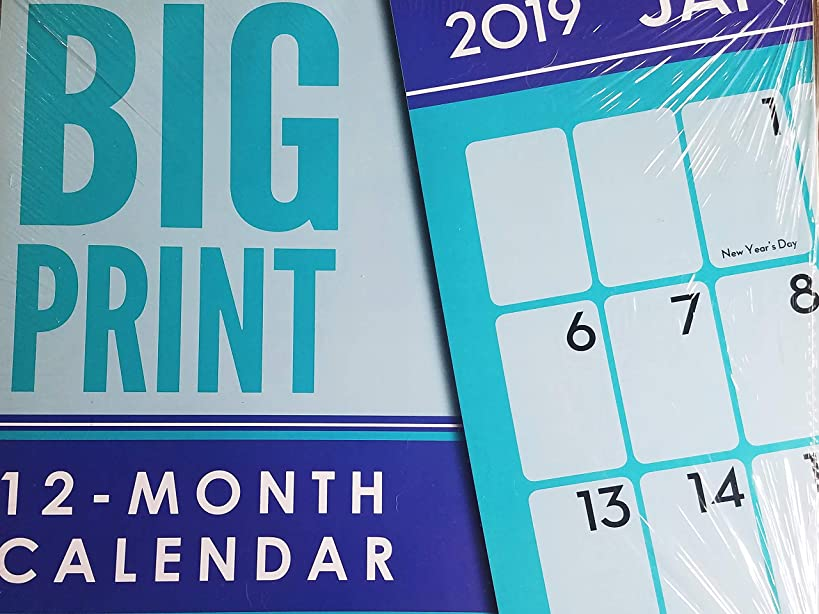 2019 Big Print Blue Wall Calendar