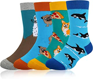 Boy's Novelty Funny Cotton Crew Socks Crazy Space Food Shark Halloween Design