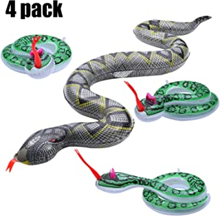 Boao 4 Pieces Inflatable Snakes Scary Simulated Snake Fake Snake Toy for Halloween Party Garden Pool Play