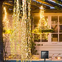 Yugocom Solar Firefly Bunch Lights 220 LEDs Waterfall Copper String Lights 8 Flashing Modes,Solar Fairy Lights Outdoor Wa...