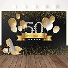 Mocsicka 50th Happy Birthday Backdrop Golden Balloon Background Golden High Heels Women Birthday Party Banner Decoration Custom Backdrops 7X5ft Vinyl Photo Studio Props