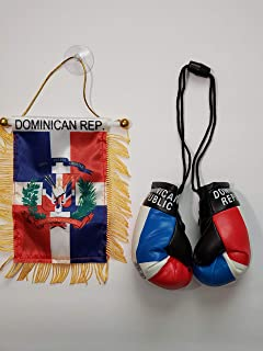 Rainbow Trading Dominican Republic Flag and Mini Boxing Gloves Combo Car Rear-View Mirror Office Decor