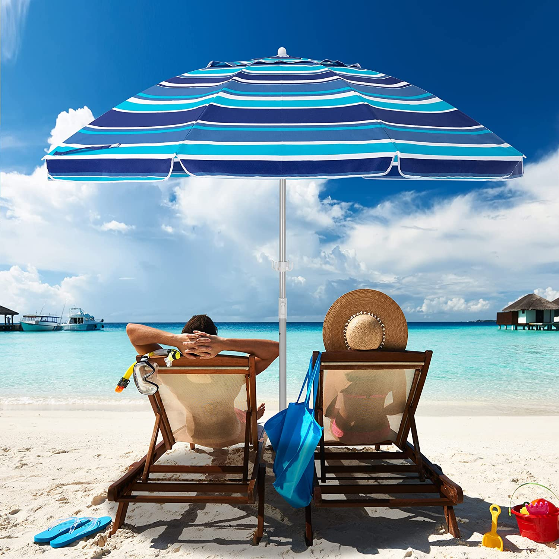 MEWAY 6.5ft Beach 定番スタイル Umbrella with Tilt Po Mechanism Sand 贈答品 Anchor