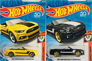 Hot Wheels 2015 Ford Mustang GT Convertible Yellow 168/365 and Black 291/365 Muscle Mania 2 Car Bundle Set