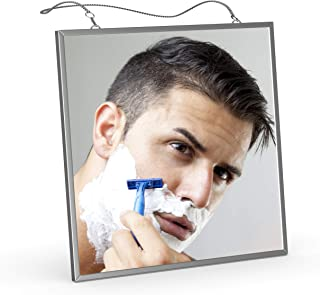 Fog Free Shower Mirror for Shaving, Liootech Anti-Fog Bathroom Fogless Shower MirrorStainless Steel Frame with 2 Stainless Steel Chains (17.3&10.6 inch) Side length:6.7 inch