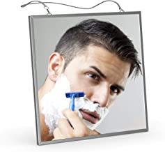 Fogless Shaving Shower Mirror, Liootech Fog Free Mirror Narrow Bezel Ultra-thin6.7 inch Metal Frame with 2 Stainless Steel Chains 17.3 & 10.6 inch