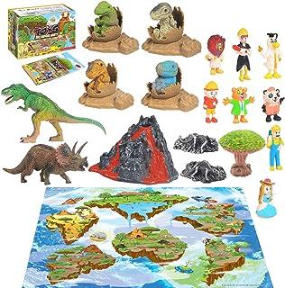 28PCS Jurassic Dinosaur Toys,Activity Play Mat Creating a Dino Park with T-Rex Triceratops Baby Dinosaur,Egg Nest,Figure,T...