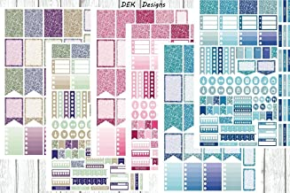 Glitter appearance planner sticker kit. Sized for Erin Condren but will work in most planners. 6 full size sticker sheets on matte sticker sheets, kiss cut.