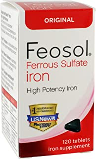Ferrous Sulfate Iron, 120 Count, High Potency Iron Supplement