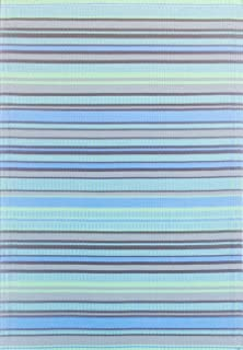Mad Mats Stripes Indoor/Outdoor Floor Mat, 4 by 6-Feet, Grey Aqua