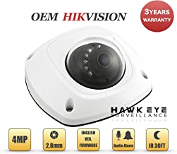 4MP PoE Wireless Security IP Camera - Mini Dome,Indoor and Outdoor,Wide Angle 2.8mm Lens,Built in WiFi,Microphone Audio, Alarm I/O Compatible with Hikvision DS-2CD2542FWD-IWS 3 Year Warranty
