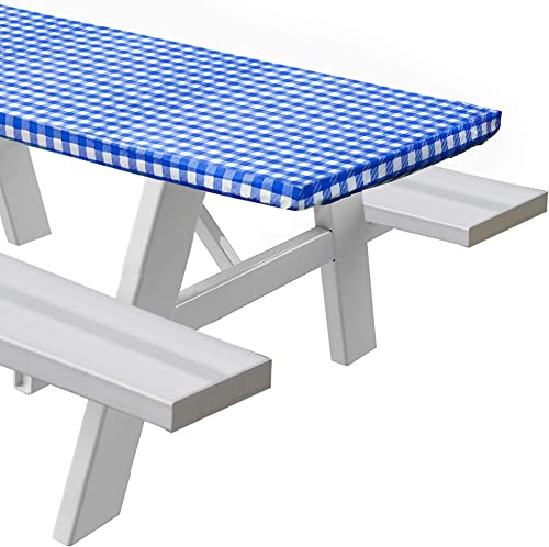 discount Sorfey Vinyl Picnic Table Fitted Tablecloth popular Cover, Checkered Design, Flannel Backed Lining, 28 2021 x 72 Inch Blue outlet online sale
