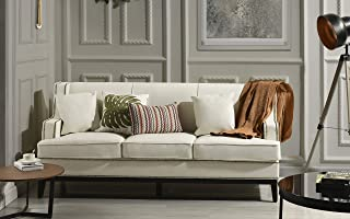 Modern Bonded Leather Sofa with Nailhead Trim Detail (White)